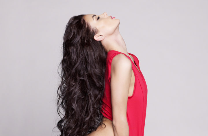 Fashion art photo of sexy naked lady with long healthy hair